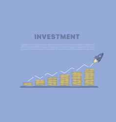 growing investment with rocket vector image