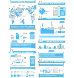 INFOGRAPHIC DEMOGRAPHICS WORLD PERCENTAGE BLUE vector image vector image