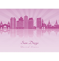 San Diego skyline in purple radiant orchid vector image