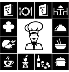 Set of restaurant icons in white on black vector image vector image