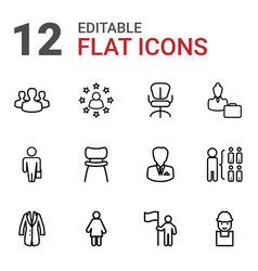 12 manager icons vector image