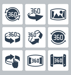 360 degrees rotation and panoramic view icon set vector image