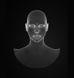 3d head wireframe drawing wireframe vector