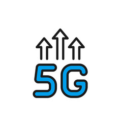 5g wireless internet flat color line icon vector image