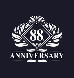 88 years anniversary logo luxury floral 88th vector