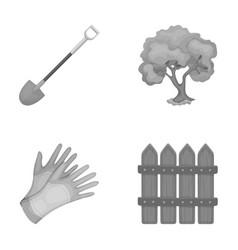 A shovel with a handle a tree in the garden vector
