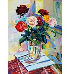 Art composition roses bouquet vector