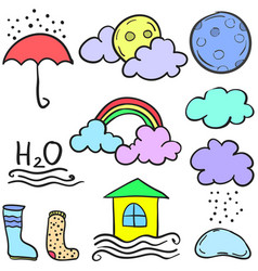 Art of wether style cloud doodles vector