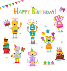 Birthday robot set vector