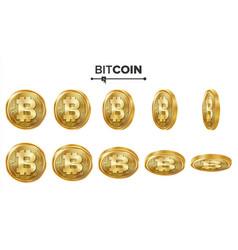 Bitcoin 3d gold coins set realistic flip vector