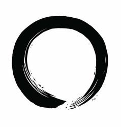 black enso zen circle brush icon vector image