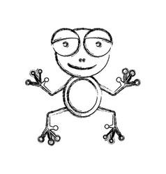 Blurred sketch silhouette cartoon cute toad vector