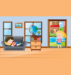 Boy napping when girl coming in vector