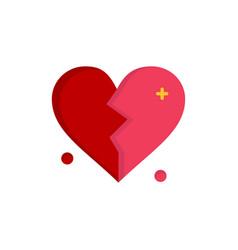 broken love heart wedding flat color icon icon vector image