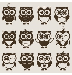 Brown Owl set vector image