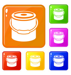 bucket icons set color vector image