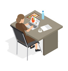 businesswoman at laptop isolated vector image