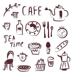 Cafe design elements set vector image
