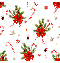 candy cane and ribbon vector image