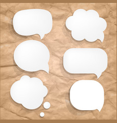cardboard wrinkles texture and speech bubbles vector image