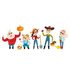 Cartoon farmers and gardeners with tools isolated vector