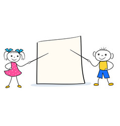 cartoon girl and boy with pointers at blank vector image