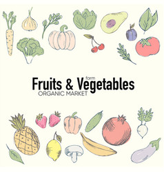 colorful organic fruits set vector image