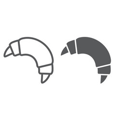 Croissant line and glyph icon sweet and tasty vector
