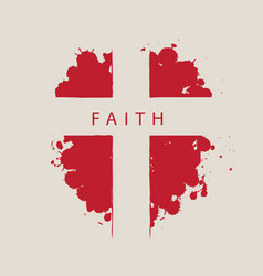 Cross with word faith on a background red vector