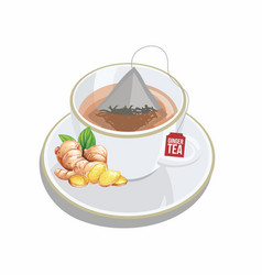 cup of ginger tea wtih triangle tea bag vector image