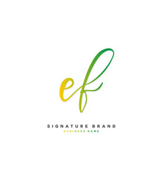 E f ef initial letter handwriting and signature vector