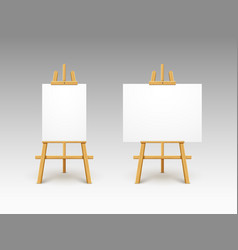 easel canvas stand board isolated wooden vector image