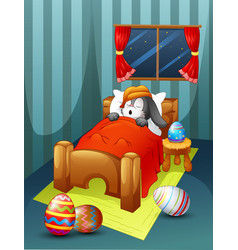 easter rabbit wearing hat sleeping in bed with eas vector image