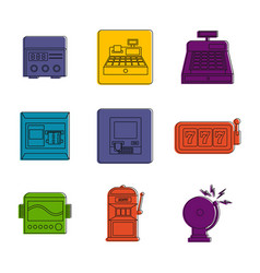 electric device icon set color outline style vector image