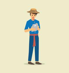Farmer using a tablet vector