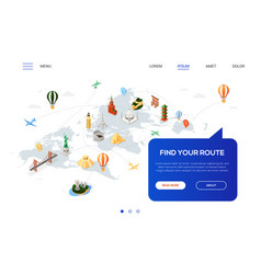 find your route - colorful isometric web banner vector image