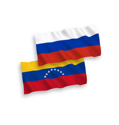 Flags venezuela and russia on a white vector