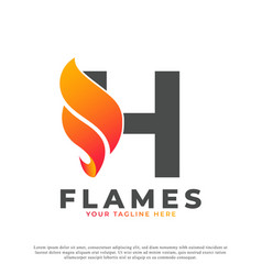 Flame with letter h logo design fire logo template vector