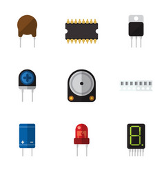 Flat icon electronics set of triode memory vector