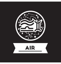 flat icon in black and white style air sign zodiac vector image