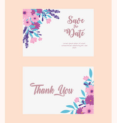 flowers wedding save date thanks you flowers vector image