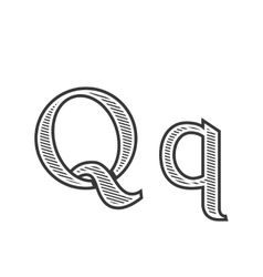 Font tattoo engraving letter Q with shading vector image