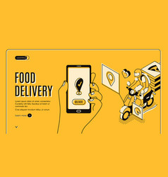 food delivery service isometric landing page app vector image