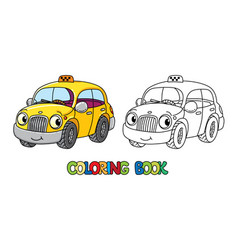 Funny small taxi car with eyes coloring book vector