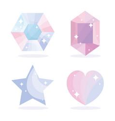 Gems diamond star heart jewelry luxury icons set vector