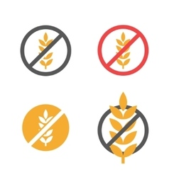 Gluten free grain icons set vector