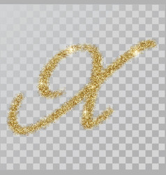gold glitter powder letter x in hand painted style vector image