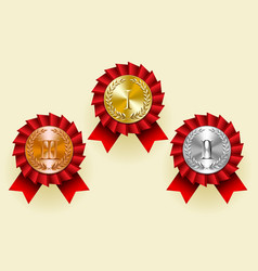 gold silver and bronze round medals with laurel vector image