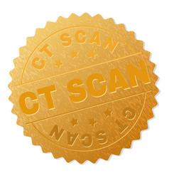 Golden ct scan medal stamp vector