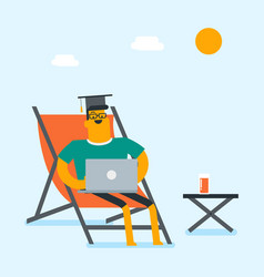 Graduate lying in chaise lounge with a laptop vector